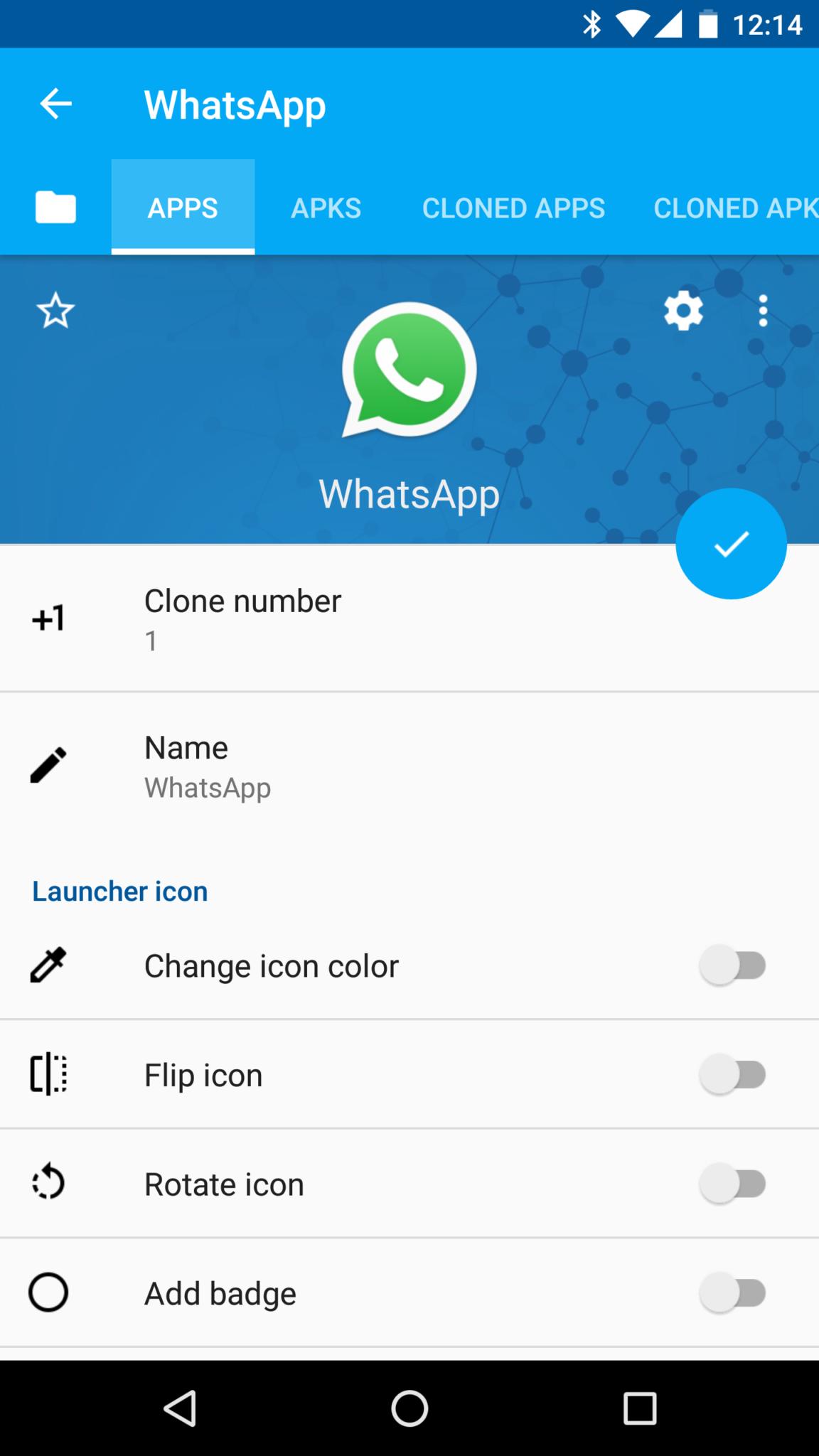 Whatsapp Cloner Menu