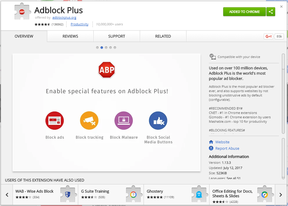 adblock plus pop-up description windows on the chrome web store