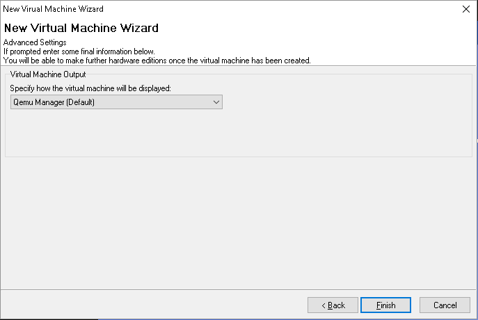Virtual machine wizard window