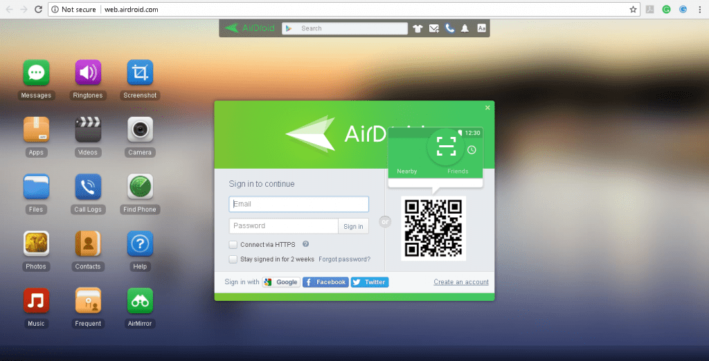 AirDroid- Sign in