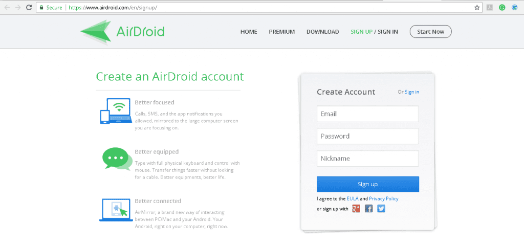 AirDroid - Signup
