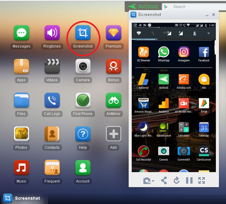 Screenshots on Airdroid