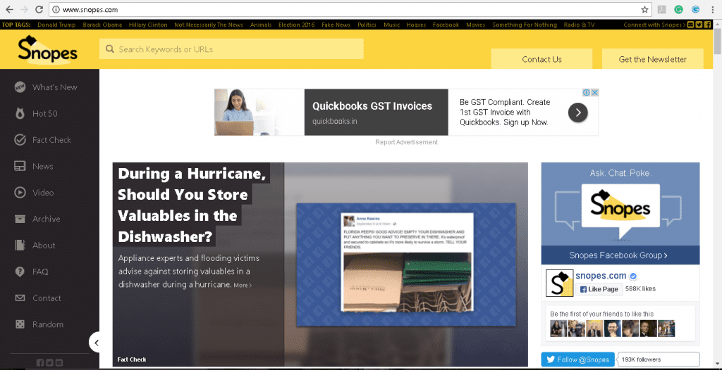 Snopes.com homescreen