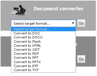Select target Format