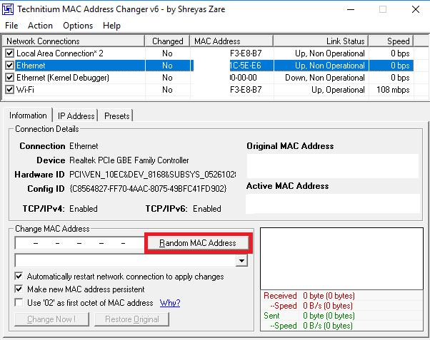 Change MAC Address