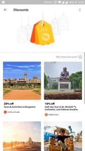 section which lets you avail discounts