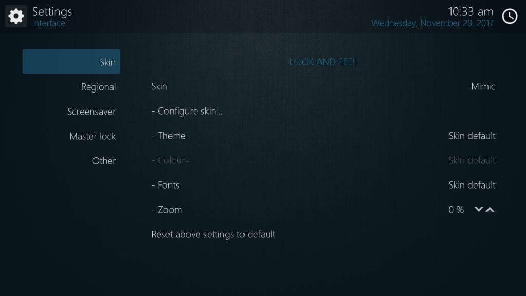 Kodi - Mimic Settings