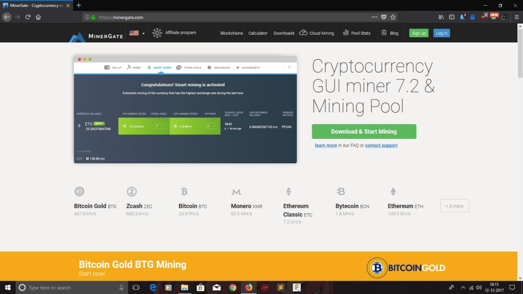 Minergate website - mine