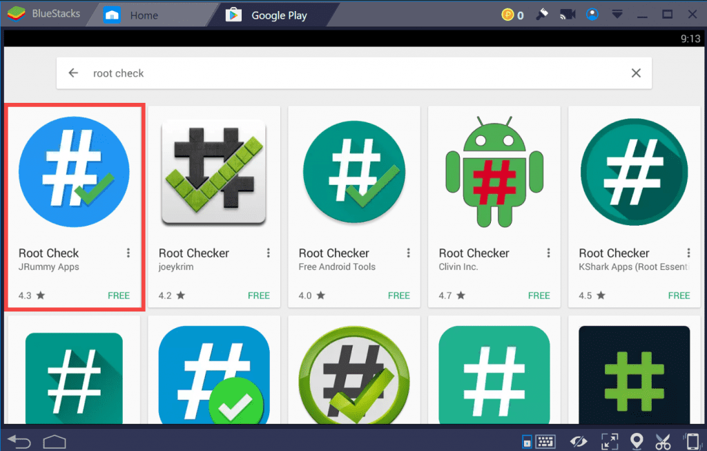 root check - playstore - root BlueStacks