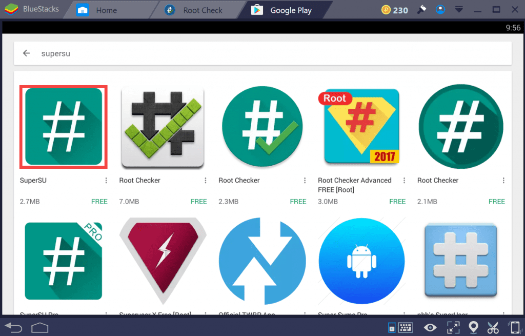 SuperSU - root BlueStacks