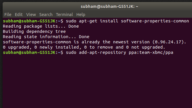 Installing - command 2 - install Kodi