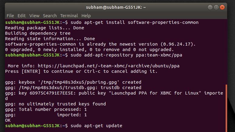 Installing - command 3 - install Kodi