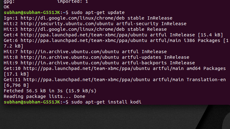 Installing - command 4 - install Kodi