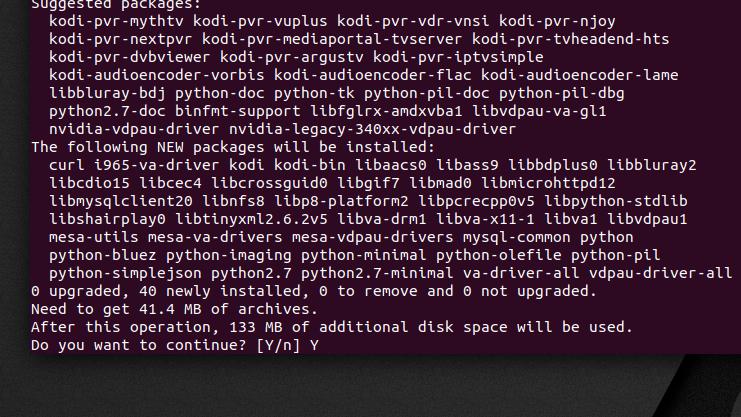 Installation size - install Kodi