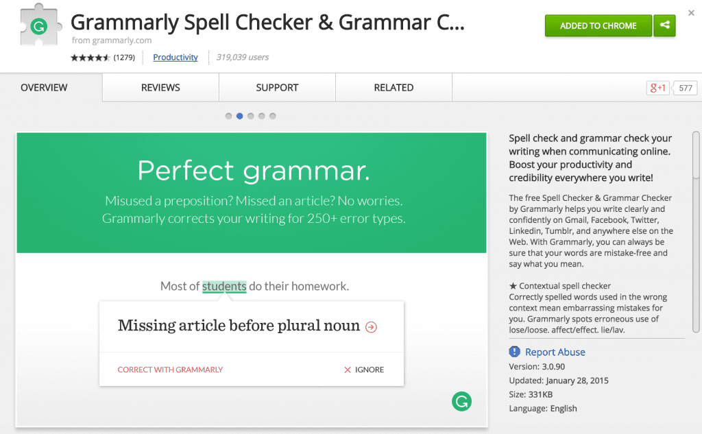 Grammarly - Spell Checker