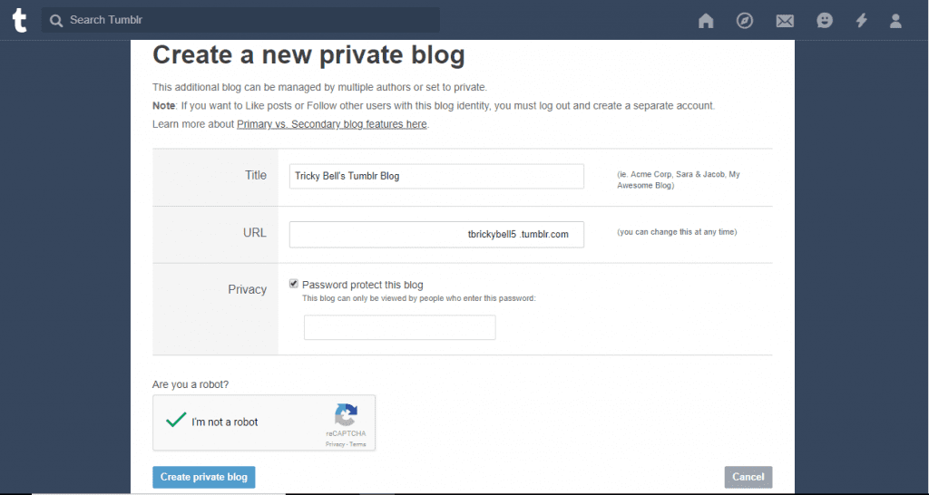 create a secondary blog on tumblr
