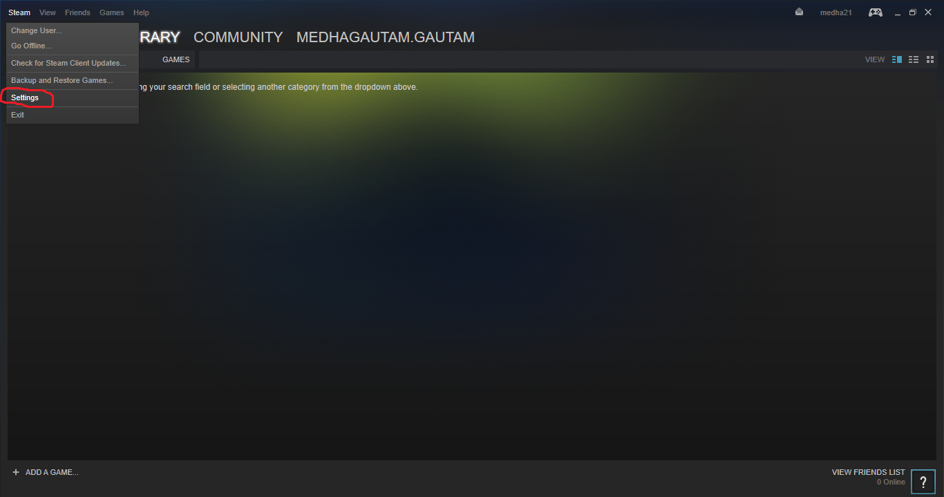 Steam library folder window