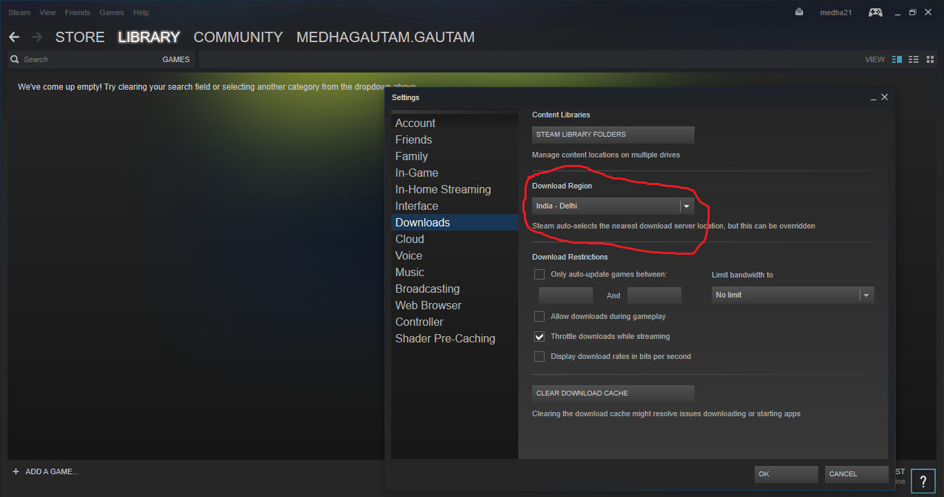 Download window of steam
