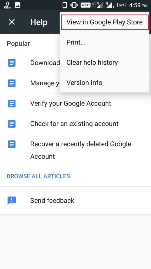 View in Google Play Store
