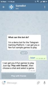 Telegram game bot