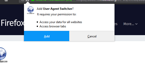 prompt on Firefox step for Windows 10 ISO