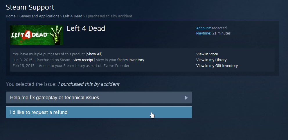 steam request refund for gift