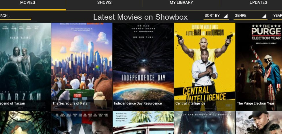 Showbox home page