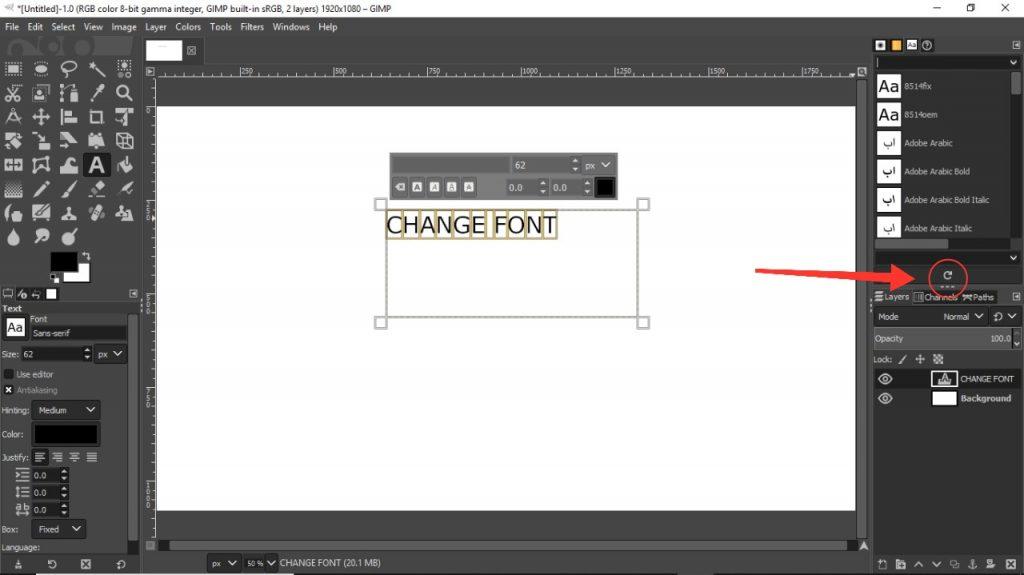 step 3 gimp fonts