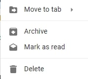 Gmail right-click menu