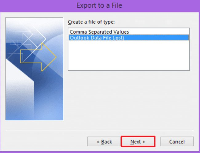 select outlook data file to convert from ost to pst and click next