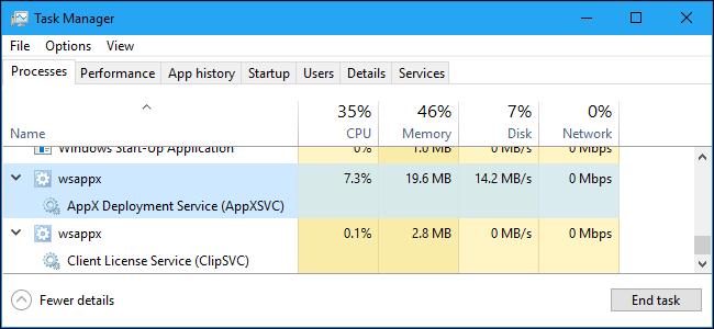 wsappx error - windows 10